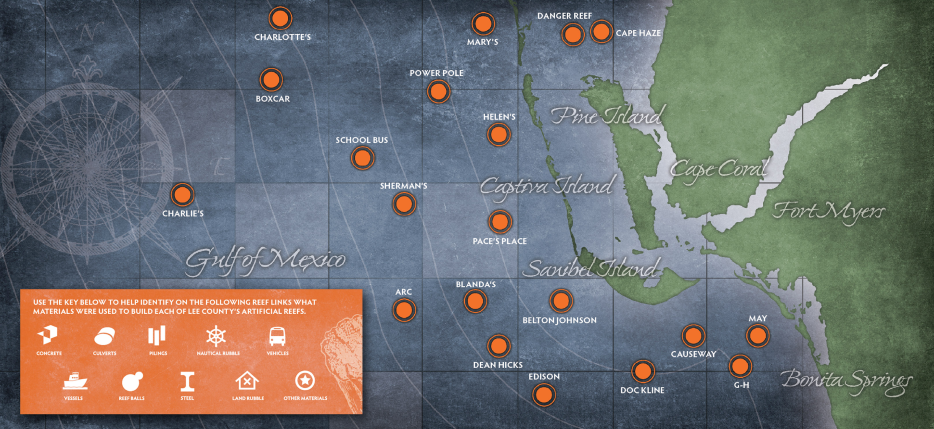 Florida Artificial Reefs Map.Lee County Reef Map H2o Offshore Adventures